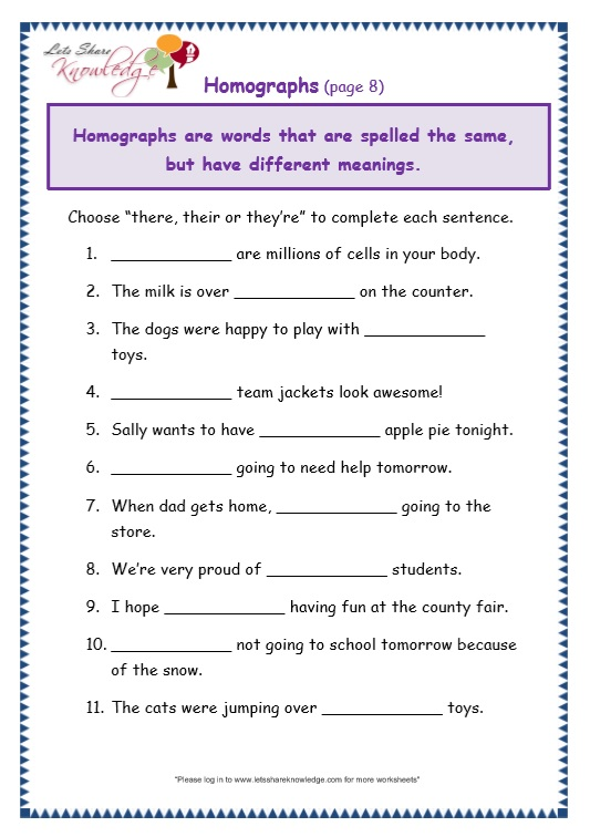 Grade 3 Grammar Topic 26: There, Their, They're Worksheets – Lets Share  Knowledge