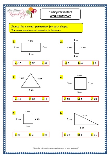 Grade 3 Maths Worksheets: (14.8 Geometry: Finding Perimeters) – Lets Share  Knowledge
